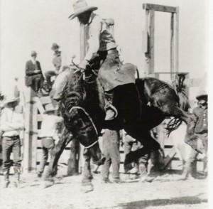 Harold Lobdell bucking bronc